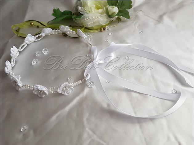 0,52 €//m 5m Organzaband Perlenband Hochzeit Kopfschmuck weiß Kommunion